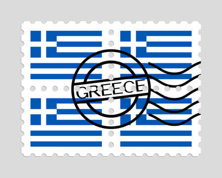 Greece flags on postage stamps. Illustration