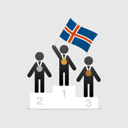 Champion with Iceland flag on winner podium icon. 矢量图像
