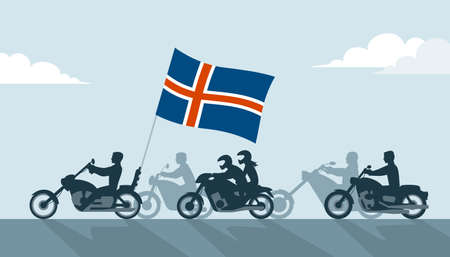Bikers on motorcycles with Iceland flag icon. Illustration