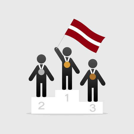Champion with Latvian flag on winner podium icon. Illustration