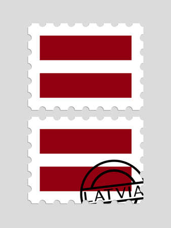 Latvian flag on postage stamps icon. Illustration