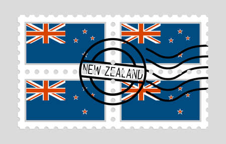 New Zealand flag on postage stamps icon. Illustration