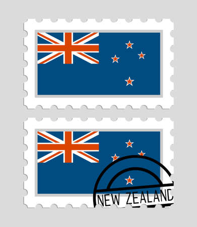 New Zealand flag on postage stamps icon. Vectores