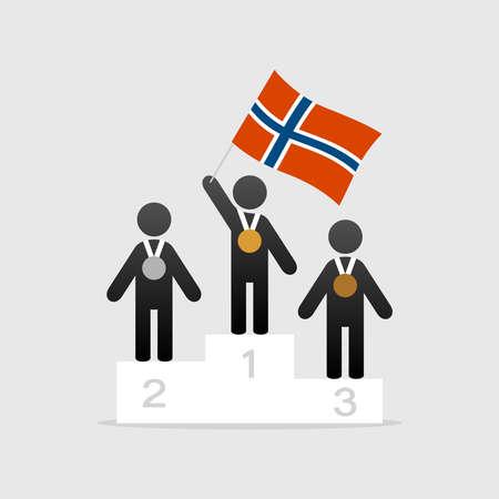 Champion with Norwegian flag on winner podium. Stock Illustratie