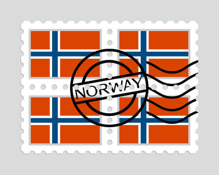 Norway flag on postage stamps.