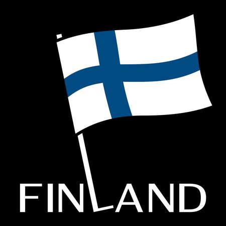 검은 배경에 막대기로 핀란드 깃발입니다. 스톡 콘텐츠 - 95756909