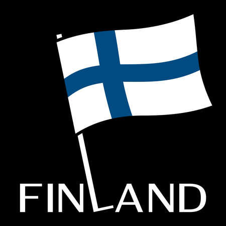 Finland flag with stick on black background.
