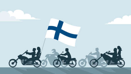 Bikers on motorcycles with finnish flag Çizim