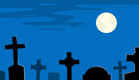 Night cemetery with tombs and moon