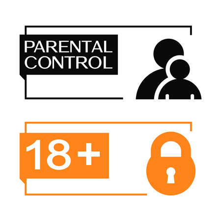 Parental control banners with parent, child and padlock icon. Minimalistic design