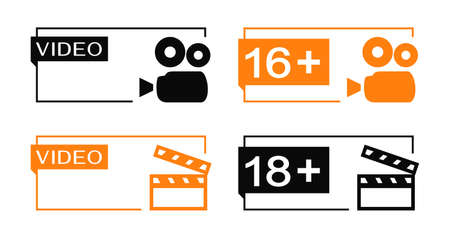 Video and age rating banners with camera and clapper icons. Minimalistic design