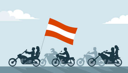 Bikers on motorcycles with austrian flag