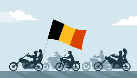 Bikers on motorcycles with belgian flag