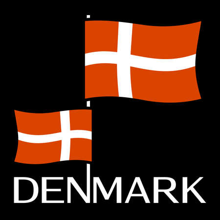 A Danish flag isolated on plain background. Ilustração