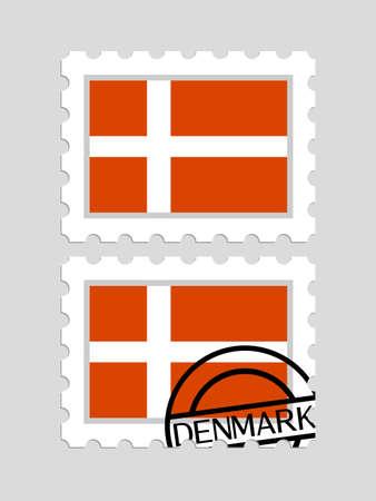 Danish flag on postage stamps