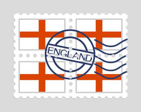 English flag on postage stamps Stock Illustratie