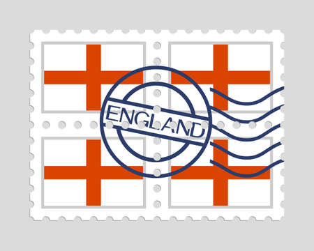English flag on postage stamps Illusztráció