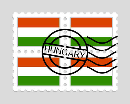 Hungarian flag on postage stamps