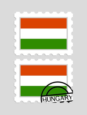우표에 헝가리 국기 일러스트