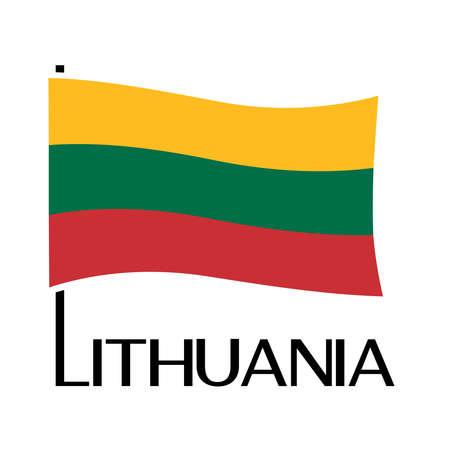 Lithuanian flag illustration on white background.