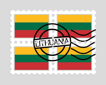 Lithuanian flag on postage stamps 일러스트