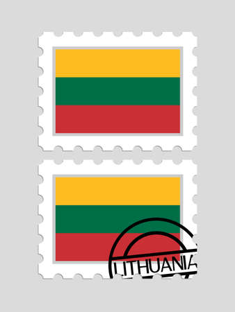 Lithuanian flag on postage stamps Illustration