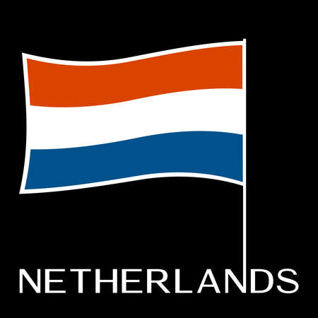 Dutch flag illustration on black background.