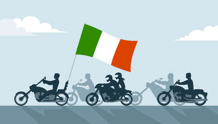Bikers on motorcycles with italian flag