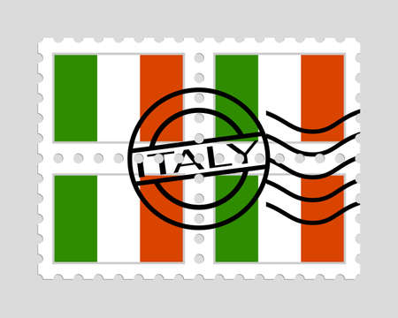 Italian flag on postage stamps