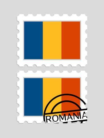 Romanian flag on postage stamps isolated on plain background. Ilustração