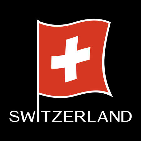 Swiss flag Vector illustration isolated on black background.