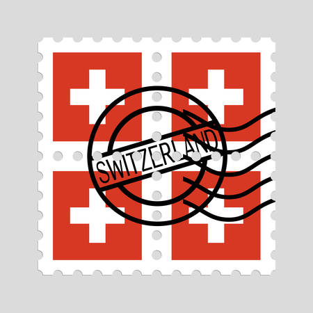 Swiss flag on postage stamps Çizim