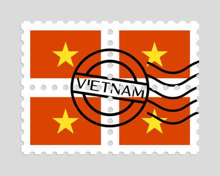 Vietnam flag on postage stamps  イラスト・ベクター素材