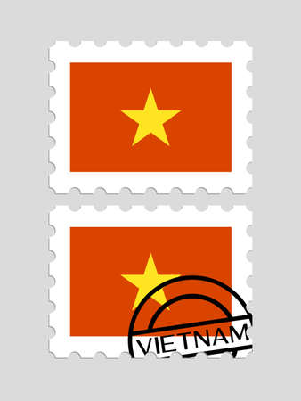Vietnam flag on postage stamps Иллюстрация