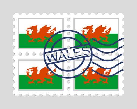 Welsh flag on postage stamps