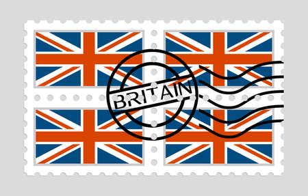 British flag on postage stamps 版權商用圖片 - 97045597