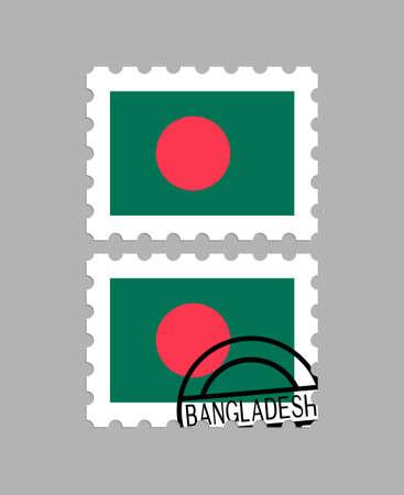 Bangladesh flag on postage stamps Иллюстрация