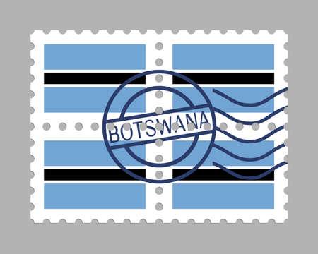 Botswana flag on postage stamps Иллюстрация