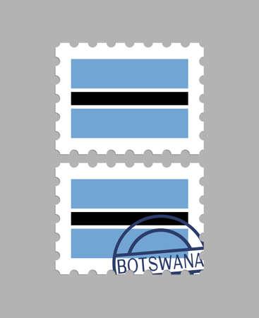 Botswana flag on postage stamps  イラスト・ベクター素材