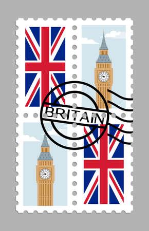 United Kingdom flag and big ben on postage stamps