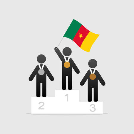 Champion with cameroon flag on winner podium