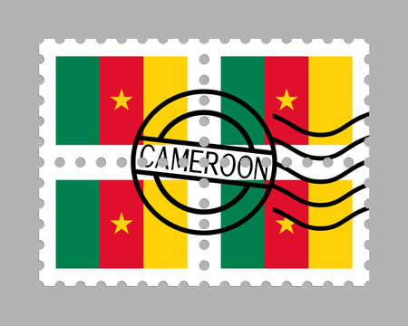 Cameroon flag on postage stamps 일러스트