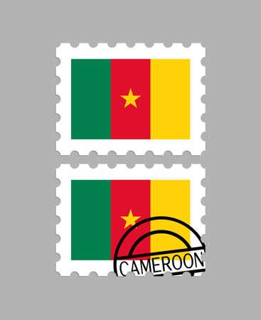 Cameroon flag on postage stamps Ilustração
