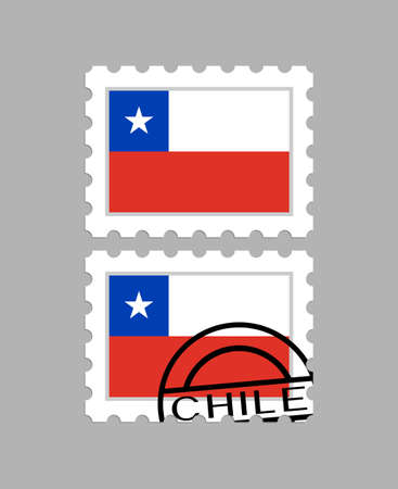 Chile flag on postage stamps 일러스트