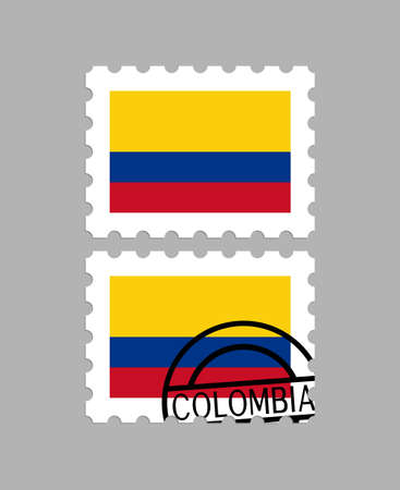 Colombia flag on postage stamps Foto de archivo - 102797213