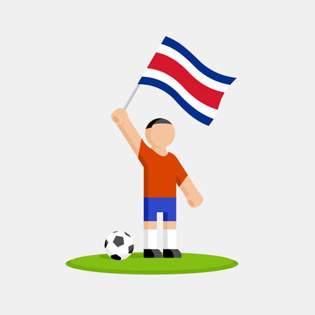 Costa rica soccer player in kit with flag and ball