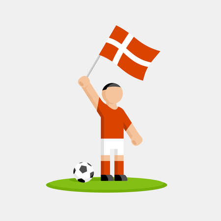 Danish soccer player in kit with flag and ball Illustration