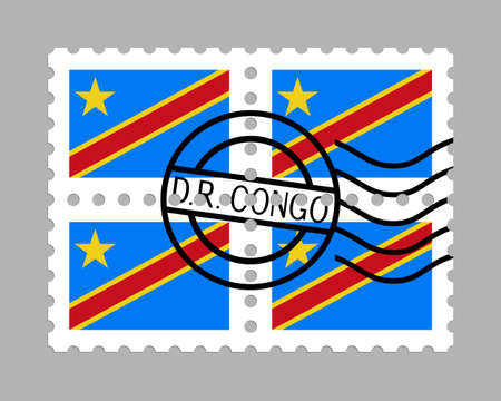 Democratic Republic of the Congo flag on postage stamps Standard-Bild - 102797219