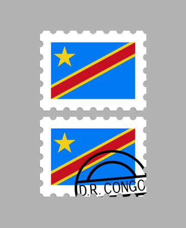 Democratic Republic of the Congo flag on postage stamps Standard-Bild - 102797220