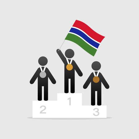 Champion with gambia flag on winner podium
